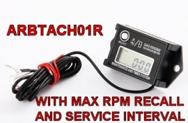 Tiny Tach Hour Meter Tachometer with max RPM and service recall